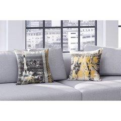 Poszewka na poduszkę paris szato złota 40 x 40 cm  - 40 X 40 cm - biały/stalowy/złoty 3