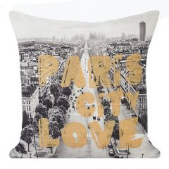Poszewka na poduszkę paris szato złota 40 x 40 cm  - 40 X 40 cm - biały/stalowy/złoty 1
