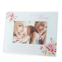 Ramka dekoracyjna mama kwiaty ze szkła 23 x 18 cm - 23 X 18 cm - kremowy/różowy 1
