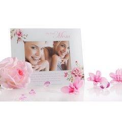 Ramka dekoracyjna mama kwiaty ze szkła 23 x 18 cm - 23 X 18 cm - kremowy/różowy 4