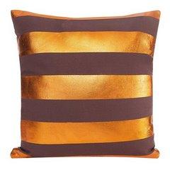 Poszewka bawełniana pasy brązowo-miedziane 40 x 40 cm - 40 X 40 cm - brązowy/miedziany 4