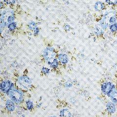 Narzuta dwustronna motyw kwiatowy termozgrzewana 220x240cm - 220x240 - niebieski 4