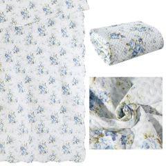 Narzuta dwustronna motyw kwiatowy termozgrzewana 220x240cm - 220x240 - niebieski 5