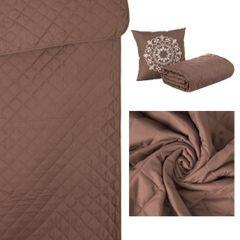 Narzuta pikowana w kwadraty czekoladowy brąz+poduszka 170x210cm - 170 X 210 cm, 40 X 40 cm - brązowy 10