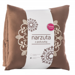 Narzuta pikowana w kwadraty czekoladowy brąz+poduszka 170x210cm - 170 X 210 cm, 40 X 40 cm - brązowy 4