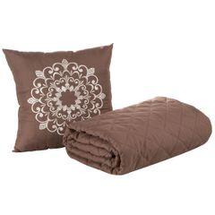 Narzuta pikowana w kwadraty czekoladowy brąz+poduszka 170x210cm - 170 X 210 cm, 40 X 40 cm - brązowy 5