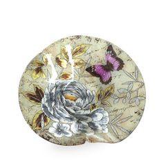 Talerz dekoracyjny szkło malowane kwiaty  - ∅ 39 cm - kremowy/szary/fioletowy/jasnoz 1