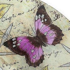 Talerz dekoracyjny szkło malowane kwiaty  - ∅ 39 cm - kremowy/szary/fioletowy/jasnoz 7