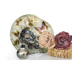 Talerz dekoracyjny szkło malowane kwiaty  - ∅ 39 cm - kremowy/szary/fioletowy/jasnoz 8