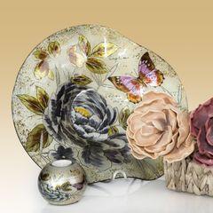 Talerz dekoracyjny szkło malowane kwiaty  - ∅ 39 cm - kremowy/szary/fioletowy/jasnoz 9