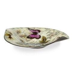Talerz dekoracyjny szkło malowane kwiaty  - ∅ 39 cm - kremowy/szary/fioletowy/jasnoz 2