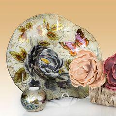 Talerz dekoracyjny szkło malowane kwiaty  - ∅ 39 cm - kremowy/szary/fioletowy/jasnoz 4