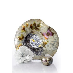 Talerz dekoracyjny szkło malowane kwiaty  - ∅ 39 cm - kremowy/szary/fioletowy/jasnoz 6