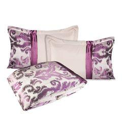 Narzuta + poszewka ornament fiolet brąz 170 x 210 cm, 1 - 170 X 210 cm, 1 szt. 50 X 70 cm - kremowy/fioletowy 1