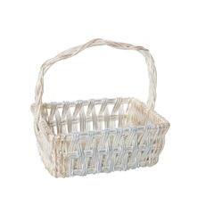 Koszyk z naturalnej wikliny 42 x 31 x 16 cm biało-złoty - 42 X 31 X 16 cm - biały/srebrny 1