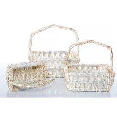 Koszyk z naturalnej wikliny 42 x 31 x 16 cm biało-złoty - 42x31x16 - biały / srebrny 3