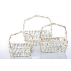 Koszyk z naturalnej wikliny 42 x 31 x 16 cm biało-złoty - 42 X 31 X 16 cm - biały/srebrny 10
