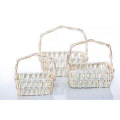 Koszyk z naturalnej wikliny 42 x 31 x 16 cm biało-złoty - 42x31x16 - biały / srebrny 5