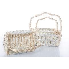 Koszyk z naturalnej wikliny 42 x 31 x 16 cm biało-złoty - 42 X 31 X 16 cm - biały/srebrny 2