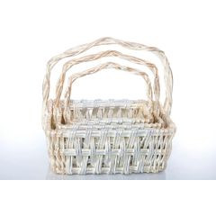 Koszyk z naturalnej wikliny 42 x 31 x 16 cm biało-złoty - 42 X 31 X 16 cm - biały/srebrny 3