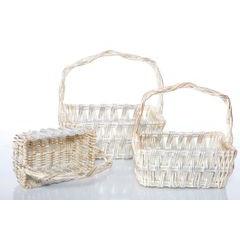 Koszyk z naturalnej wikliny 42 x 31 x 16 cm biało-złoty - 42 X 31 X 16 cm - biały/srebrny 4