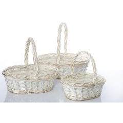 Koszyk z naturalnej wikliny 43 x 36 x 17 cm biało-złoty - 43 X 36 X 17 cm - biały/złoty 10
