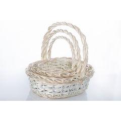 Koszyk z naturalnej wikliny 43 x 36 x 17 cm biało-złoty - 43 X 36 X 17 cm - biały/złoty 3