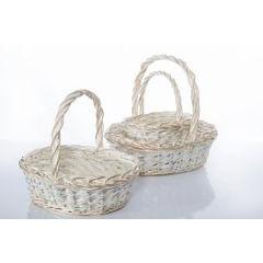 Koszyk z naturalnej wikliny 43 x 36 x 17 cm biało-złoty - 43 X 36 X 17 cm - biały/złoty 4