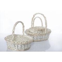 Koszyk z naturalnej wikliny 43 x 36 x 17 cm biało-złoty - 43 X 36 X 17 cm - biały/złoty 7