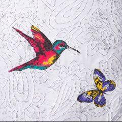 Narzuta dwustronna młodzieżowy wzór ptaki i motyle 220x240cm - 220x240 - biały 6