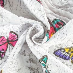 Narzuta dwustronna młodzieżowy wzór ptaki i motyle 220x240cm - 220x240 - biały 8