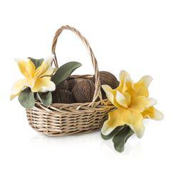 Koszyk z naturalnej wikliny 43 x 33 x 8 cm biało-złoty - 43 X 33 X 13 cm - złoty 3