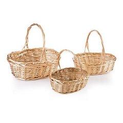 Koszyk z naturalnej wikliny 43 x 33 x 8 cm biało-złoty - 43 X 33 X 13 cm - złoty 2