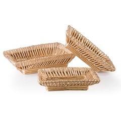 Koszyk z naturalnej wikliny 40 x 28 x 11 cm cm biało-złoty - 40 X 28 X 11 cm - beżowy 2