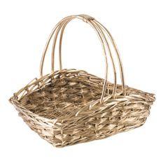 Koszyk z naturalnej wikliny 49 x 31 x 17 x 12 cm cm biało-złoty - 49 X 31 X 17 X 12 cm - złoty 1