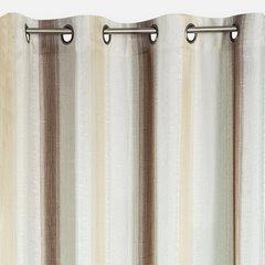 Zasłona w delikatne pionowe pasy brązowa przelotki 140x250cm - 140 X 250 cm - brązowy/ecru 2