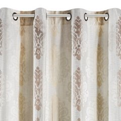 Zasłona z cieniowanymi ornamentami brązowa przelotki 140x250cm - 140x250 - kremowy / brązowy 2