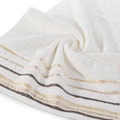 Ręcznik z bawełny z kolorowymi paskami w jodełkę 70x140cm kremowy - 70 X 140 cm - kremowy 2