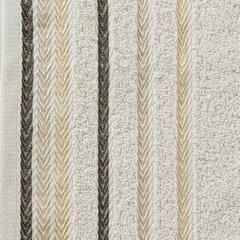 Ręcznik z bawełny z kolorowymi paskami w jodełkę 70x140cm beżowy - 70 X 140 cm - beżowy 10