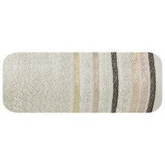 Ręcznik z bawełny z kolorowymi paskami w jodełkę 70x140cm beżowy - 70 X 140 cm - beżowy 2
