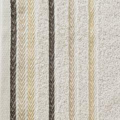 Ręcznik z bawełny z kolorowymi paskami w jodełkę 70x140cm beżowy - 70 X 140 cm - beżowy 4