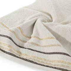 Ręcznik z bawełny z kolorowymi paskami w jodełkę 70x140cm beżowy - 70 X 140 cm - beżowy 5