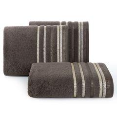Ręcznik z bawełny z kolorowymi paskami w jodełkę 50x90cm brązowy - 50 X 90 cm - brązowy 1