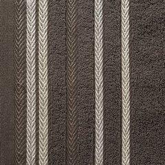 Ręcznik z bawełny z kolorowymi paskami w jodełkę 50x90cm brązowy - 50 X 90 cm - brązowy 3