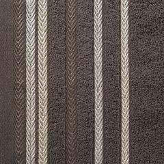 Ręcznik z bawełny z kolorowymi paskami w jodełkę 50x90cm brązowy - 50 X 90 cm - brązowy 4