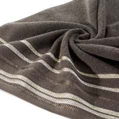Ręcznik z bawełny z kolorowymi paskami w jodełkę 50x90cm brązowy - 50 X 90 cm - brązowy 2