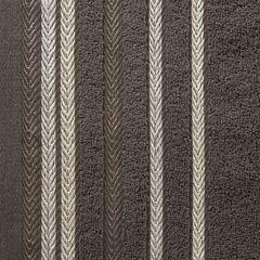 Ręcznik z bawełny z kolorowymi paskami w jodełkę 70x140cm brązowy - 70 X 140 cm - brązowy 4