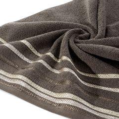 Ręcznik z bawełny z kolorowymi paskami w jodełkę 70x140cm brązowy - 70 X 140 cm - brązowy 5