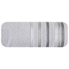 Ręcznik z bawełny z kolorowymi paskami w jodełkę 50x90cm srebrny - 50 X 90 cm - srebrny 2