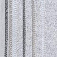 Ręcznik z bawełny z kolorowymi paskami w jodełkę 70x140cm popielaty - 70 X 140 cm - srebrny 9